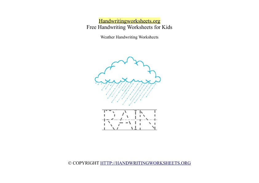 Rain Weather Handwriting Worksheet