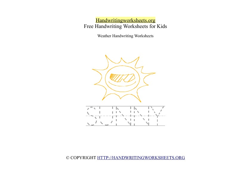 Sunny Weather Handwriting Worksheet