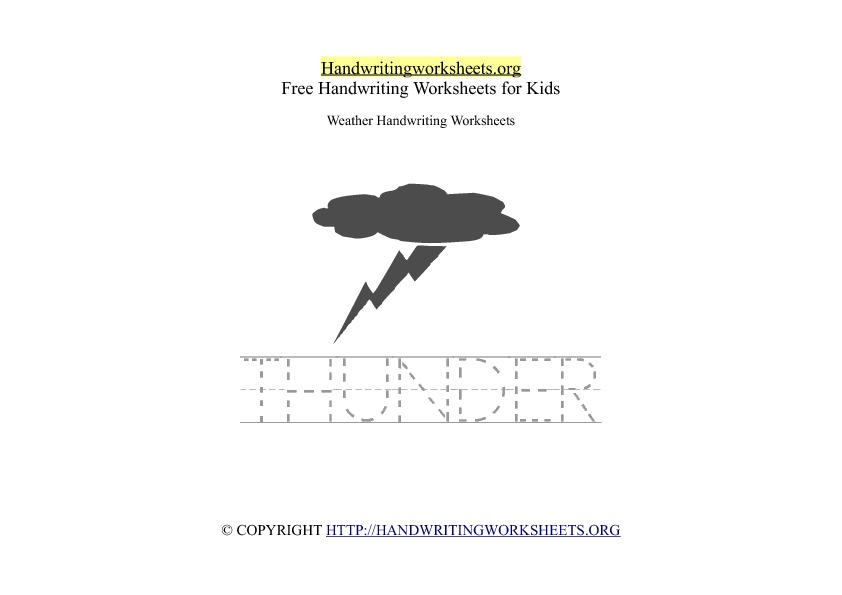 Thunder Weather Handwriting Worksheet