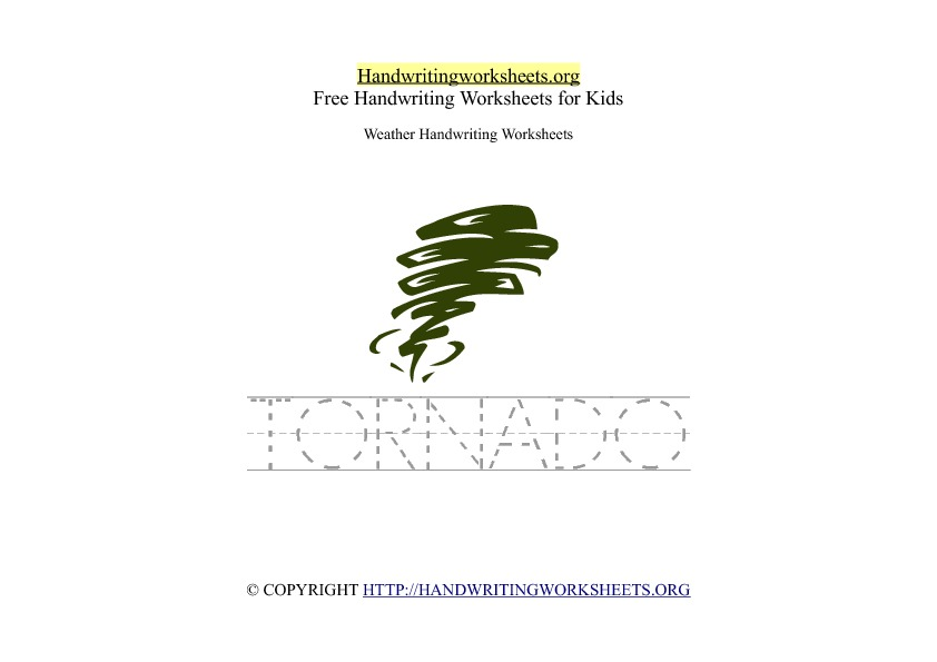 Tornado Weather Handwriting Worksheet