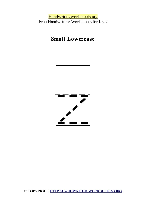 Handwriting Worksheet Letter Z Lowercase