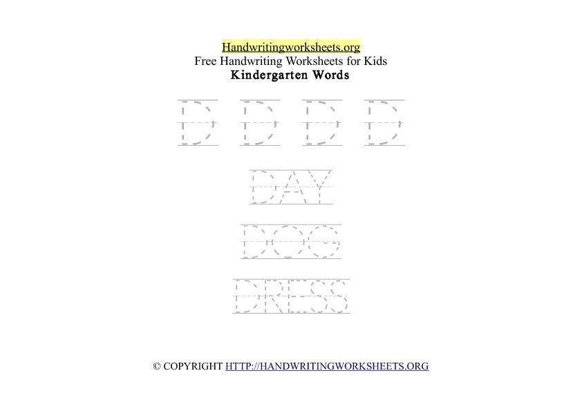 Handwriting Words Letter D Uppercase Capitals