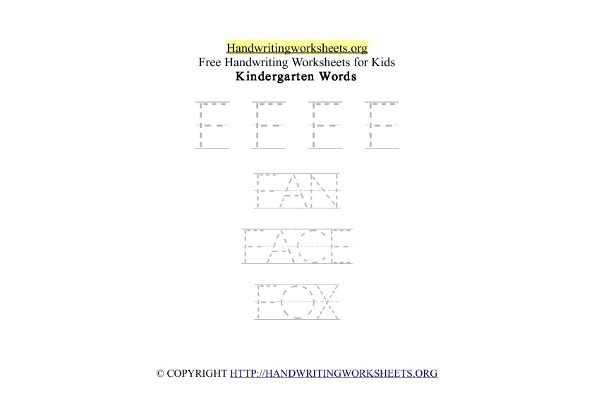 Handwriting Words Letter F Uppercase Capitals