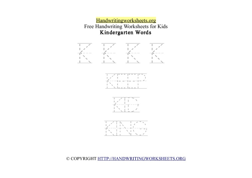Handwriting Words Letter K Uppercase Capitals