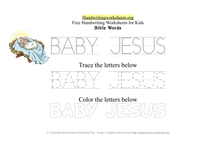 Baby Jesus - Bible Words - PDF Handwriting Workshee