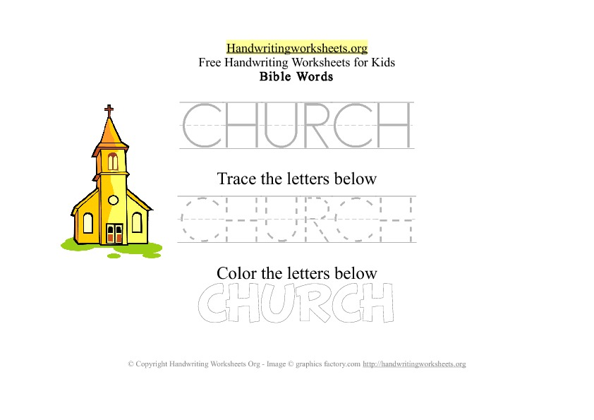 Church - Bible Words - PDF Handwriting Workshee