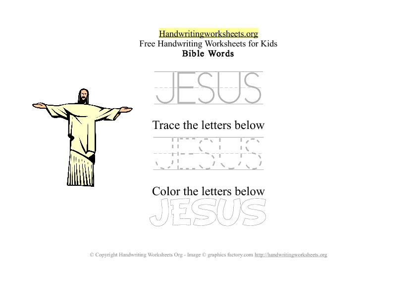 Jesus - Bible Words - PDF Handwriting Workshee