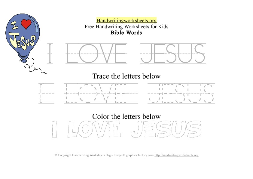 I Love Jesus - Bible Words - PDF Handwriting Workshee